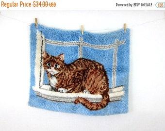 Large Vintage Latch Hook Shag Rug Cat Kitten wall hanging // 1970s Blue and Brown Louanne's Estate Sale
