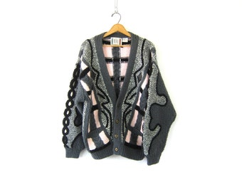 Slouchy RETRO Abstract Sweater thick Chunky Gray Geometric 1980s Graphic Knit Avant Garde Long cardigan Artsy Urban Oversize Women's size XL