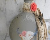 Grey Vase, Painted Bottle, Altered Vase, Gypsy Cowgirl, Bohemian Vase, Burlap Vase, Bud Vase, Steer, Painted Vase