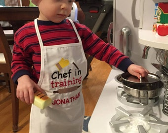 Personalized Embroidered Preschool Toddler K-6 Child Kids Boys Girls  Apron  And Chef Hat