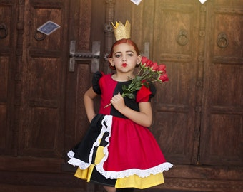 Disney Inspired Queen of Hearts Character Dress for Infants, Toddlers, Girls Sizes 12 mos to Size 8