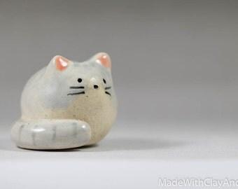 Pottery Kitty Cat - Miniature Ceramic Porcelain Clay Animal Grey Sculpture Decorative Home Decor Ornament - Terrarium Figurine Hand Sculpted