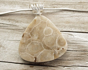 Petoskey Stone - Petoskey Stone Pendant - Petoskey Stone Jewelry - Michigan Stone - Fossil Jewelry - Natural Stone - Stone Jewelry
