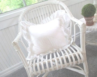 Shabby French Cottage Pillow * Off White Ruffles * Pottery Barn Feather & Down Insert