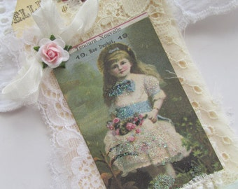 French Gift Tag, Little Child Gift Tag Lace Tag, Shabby Tag, Mixed Media Lace Tag