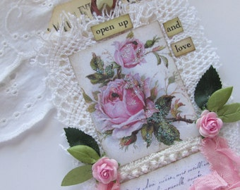 French Gift Tag, Shabby Tag, Mixed Media Tag, Lace Gift Tag, Vintage Tag