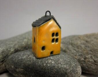 YELLOW Cottage...Raku Pendant / Necklace