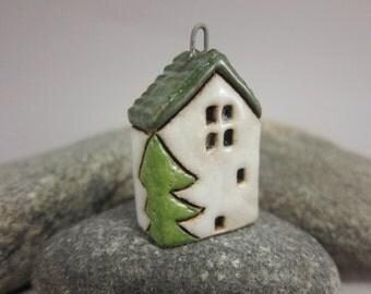 X-mas Cottage...Stoneware Pendant