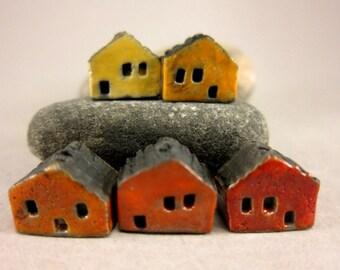 5 Saggar Fired Miniature House Beads...Sunset