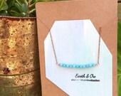 Amazonite Minimalist Strand Copper Choker || Blue Gemstone Rose Gold Necklace || Amazonite Rough Crystal Strand Jewlery