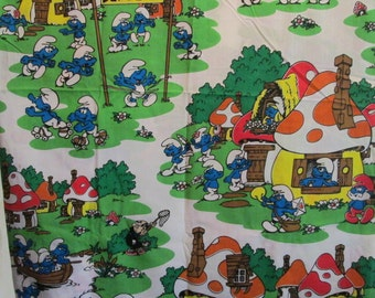 Vintage Smurfs Twin Flat Sheet Super Bright Colors NOS