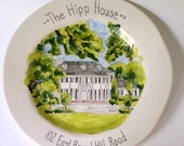 Custom house portrait plate housewarming, graduation, hostess, new home gift, by Cathie Carlson