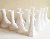 10 Vintage Small White Milk Glass Bud Vases Table Decor Wedding Set