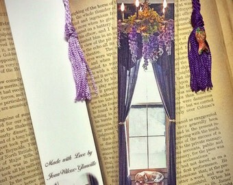 Orange Tabby Kitty Cat Nap Under the Purple Wisteria Laminated Photo Bookmark w/ Cloisonne Fish beads