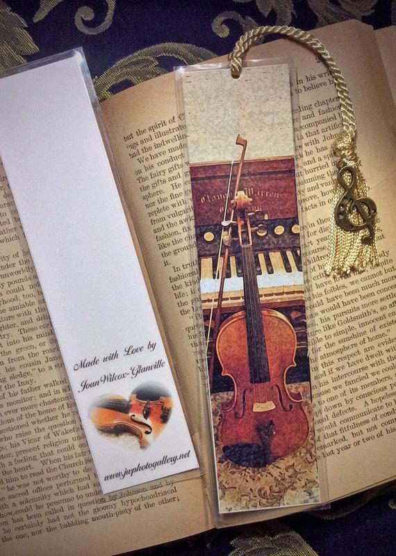 Concerto Masterpiece Violin Piano Organ Fine Art Laminated Photo Bookmark w/ Antique Gold Tone G Clef Music Note Charm