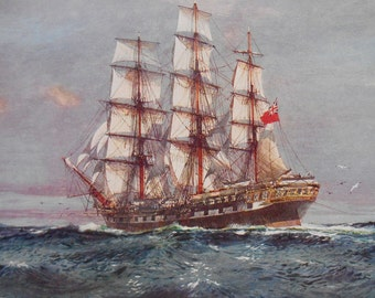 Clipper Ship Star Of India, Nautical Art, Vintage 1940 Sailing Ship print