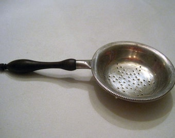 Sterling Tea Strainer With Wood Handle
