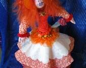 Orange Lady OOAK doll, 19 1/2 inch stump doll, Fantasy female doll, Soft cloth doll