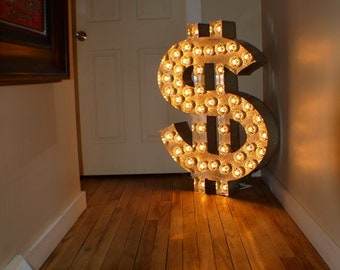 Bling Money Dollar channel Light Large Huge Movie Vintage Marquee