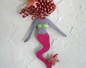 Metal mermaid wall art sculpture - Opal - reclaimed metal bathroom beach house wall decor pink mermaid