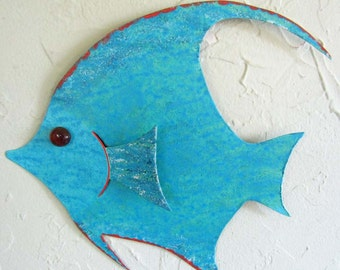 Art Sculpture Tropical  Sun Fish Metal Wall Decor Fish Wall Sculpture Turquoise Aqua Art Beach House Coastal Fish a Bathroom Decor 7 x 9