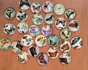34 Pack 16mm Butterfly Glass Circle Cabochons 16mm  (BF-16-34-1)
