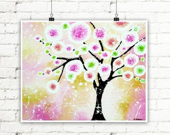 Soft Pink and White Girls Room Wall Decor, Whimsical Tree Art Print, Tree Wall Art Print, Circle Wall Decor