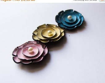 50% OFF SALE Jewelry supplies leather flowers for pendants, necklaces, brooches, shoes clips etc Handmade supplies