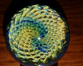 "Fumed Webbed Vortex Glass Marble 1.7""- Contemporary Boro Glass Art"