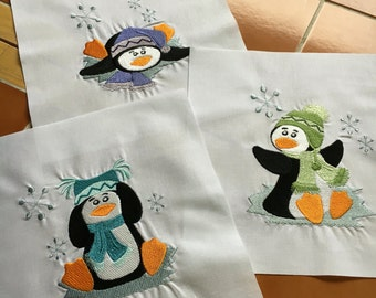 Penguins - 3 bright embroidered quilt blocks -  ready to sew - 9 inch squares