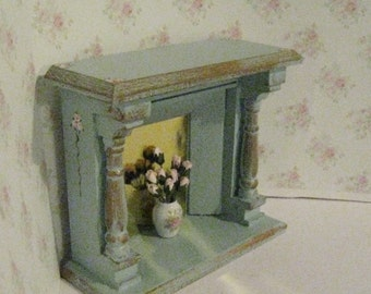 Dollhouse fireplace, blue fireplace, bedroom fireplace, fireplace with flowers, a dollshouse miniature in twelfth scale
