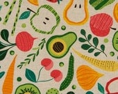 Japanese Kawaii - Spring Vegetables and Fruit - Cotton Linen - Fabric 1/2 Yard