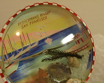 Polished Mother of Pearl Seashell Holds San Francisco Souvenir