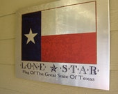 Large Rustic Metal Texas Lone Star Flag , Metal and Wood Texas Flag, Lone Star Flag, Flag Art, Texas Wall Art