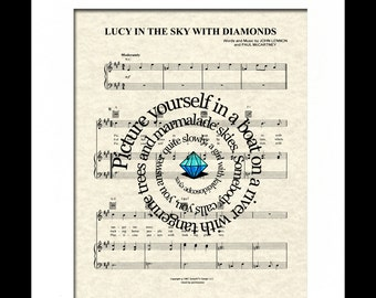 Lucy In The Sky With Diamonds by  The Beatles Song Lyric Sheet Music Art Print, Spiral Song Lyric Art Print, Music Art, Gallery Wall Art