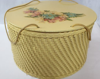 Vintage Princess Yellow Wicker Sewing Basket, Made in Algonquin, IL USA