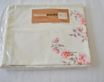 Vintage 1950's Stevens Mohawk Twin Fitted Sheet New in Package Deadstock Combed Percale