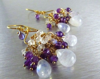 25% Off Summer Sale Amethyst and Moonstone Gemstone Wire Wrapped Chandelier Earrings