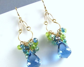 End Of Summer Sale London Blue Topaz With Peridot and Aquamarine Gold Filled Dangle Earrings.
