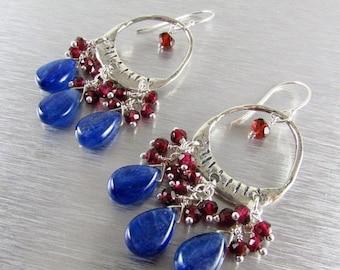 20 % Off Kyanite and Garnet Sterling Silver Artisan Chandelier Cluster Earrings