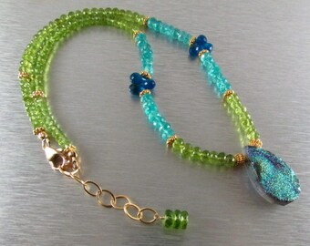 25 % OFF Colorful Druzy and Gemstone Necklace, Peridot And Apatite Necklace