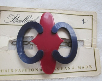 vintage barrettes  still on card blue  and red abstract , vintage 1970s hair accessry