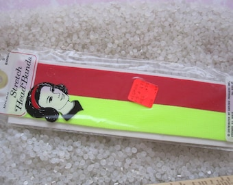 vintage headbands, red and bright neon yellow, never used Retro chic, vintage Gayla