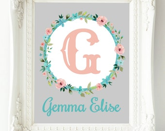 Personalized Nursery Print, Baby Girl Nursery Wall Decor, Custom Name Print, Gray Teal Coral Nursery Art, Child Wall Art, Floral Monogram
