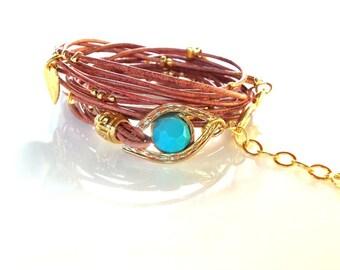 Leather Wrap  Bracelet  Gold Evil Eye Hamsa Charms Bracelet Friendship Bracelet Boho bracelet Beaded Wrap Bracelet