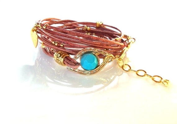 Leather Wrap  Bracelet  Gold Evil Eye Hamsa Charms Bracelet Friendship Bracelet Boho bracelet Beaded Wrap Bracelet