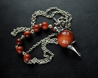Necklace - Brown Pendulum - Sandstone, modern, unique, art to wear, ooak, contemporary - by Schneider Gallery