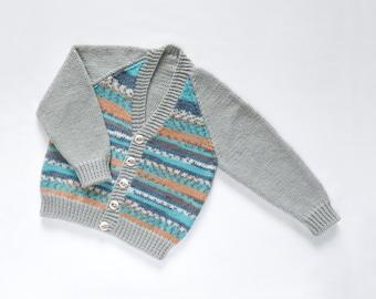 Boys Cardigan - Silver Streak. Hand Knit Cardigan. Hand Knit Childrenswear.