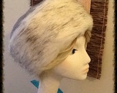 Cossack-style Winter Hat in Silver Faux Suede with White Faux Fur