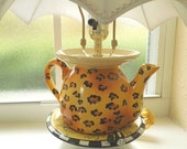Teapot Lamp, vintage dinnerware, upcycled accent lamp, black, yellow